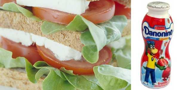 Un sandwich con queso o una botelita persona de yogurt contienen la ración ideal de lácteos para una lonchera nutrtitiva